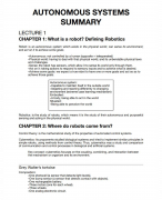 Summary for Autonomous Systems Chapters 1 to 19